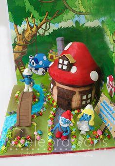 smurfsville, smurfs cake, smurfs village cake