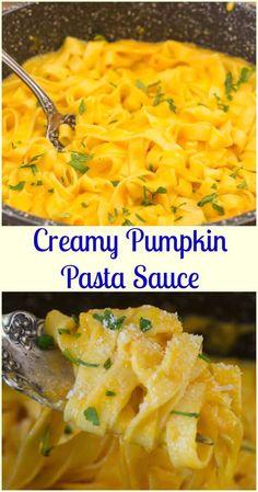 Creamy Pumpkin Pasta Sauce, delicious fast and easy creamy squash/pumpkin pasta recipe. The perfect weeknight vegetarian dinner. Healthy Vegetable Recipes, Vegetable Pasta, Vegetable Side Dishes, Pumpkin Pasta Sauce, Butternut Squash Pasta Sauce, Side Dish Recipes, Pasta Recipes, Cooking Recipes, Dinner Recipes