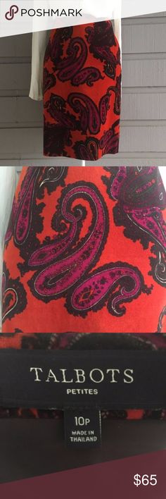 "Talbots Paisley Velvet Skirt EUC fabric is 100% cotton shell, 100% polyester lining. Waist: 32"", length 21"". Questions and Offers Welcome! Talbots Skirts"