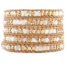 White Mother of Pearl Beaded Mix Wrap Bracelet on Beige Leather