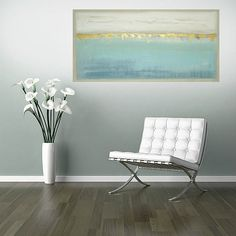 This is a one of a kind original painting by acrylic artist Ora Birenbaum.  Will arrive ready to hang, signed by the artist.  Very modern with a weathered look, I used shades of white, stone, and taupe for the top portion and the lower portion has multiple shades of spa blues, sea foam, dusty blues, and periwinkle. There are touches of metallic golds and pewter and there is an edging of taupe around the piece. The sides will be finished to match. Simply gorgeous!  Very highly textured for…