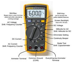 If you don't know how to use a multimeter, you stand a great risk of electric shock or damage to your electronics. Moreover, you may end up blaming the multimeter for not functioning effectively Electrical Engineering Books, Home Electrical Wiring, Electrical Symbols, Electrical Projects, Electrical Installation, Electronic Engineering, Mechatronics Engineering, Engineering Quotes, Chemical Engineering