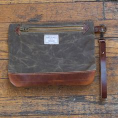 Personal Effects Bag in Dark Khaki Wax - wristlet / clutch purse in khaki waxed canvas and Horween leather