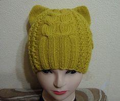 Котошапки - шапочки с ушками связанные спицами - Modnoe Vyazanie ru.com Knitted Hats, Crochet Hats, Knitting, Handmade, Fashion, Beret, Tricot, Caps Hats, Knitting Hats