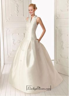 Beautiful Satin ball gown V-neck Natural Waist Wedding Dress With Handmade Flowers Sale On LuckyDresses.com With Top Quality And Discount