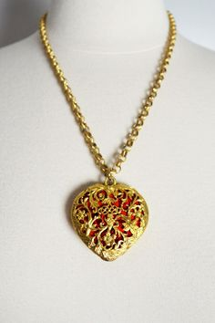 Necklace Heart Locket / Valentine's Day / Jewelry / by thriftage, $27.00