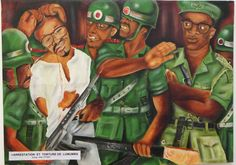 Arrest and torture of Lumumba, by Dominique Bwalye Mwando, 2005 Bozar Brussels