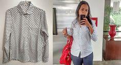 Look com camisa de poás super barata comprada no Aliexpress. Maiores informações e link no post. Confira. Super recomendo!