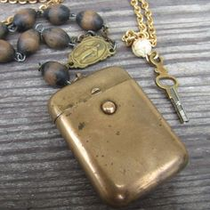 Free gift pocket watch key necklace Antique deco gold metal Match safe vesta wood rosary poison Pill box Lux Revival Men vintage Jewelry t31. $250.00, via Etsy.