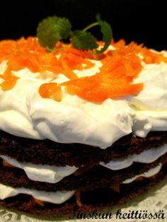 Porkkanakakun uusi ilme Naked cake tyyliin: Tinskun keittiössä Naked, Desserts, Food, Postres, Deserts, Hoods, Meals, Dessert, Food Deserts