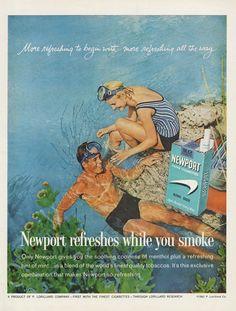 1962 Newport Cigarettes Ad Snorkeling Scuba Diving by AdVintageCom