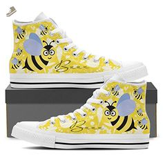 Cute Bee - Womens High Top Sneakers In White & Black Womens High Top - White - Yellow / US8 EU39 - Vaisb sneakers for women (*Amazon Partner-Link)