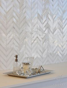 lux chevron marble backsplash is chic and timeless in the master bath...beauty in design details