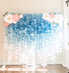 The Original Paper Circle Garland Backdrop: Blue Ombre - ***This backdrop does NOT include the paper flower pieces.** This gorgeous blue ombre paper garland - Backdrop Stand, Flower Backdrop, Flower Wall, Paper Backdrop, Backdrop Lights, Backdrop Ideas, Paper Flower Garlands, Backdrop Photobooth, Backdrop Frame
