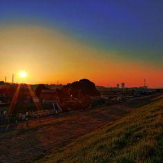 正月の日の出。江戸川土手から矢切・栗山の斜面林を望む。  by Tyo Omi