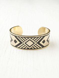 Geometric Brass cuff bracelet #navajo #aztec #tribal #boho