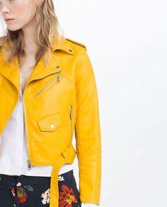 Veste en cuire jaune femme