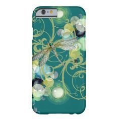Cute dragonfly with abstract swirls & chic pearls barely there iPhone 6 case