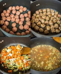 How to make Italian Wedding soup with meatballs, vegetables and a few simple seasonings. Crockpot Italian Wedding Soup, Italian Soup Recipes, Fall Dinner Recipes, Dinner Ideas, Homemade Focaccia Bread, Cooking Ideas, Cooking Recipes, Low Sodium Chicken Broth, Homemade Soup