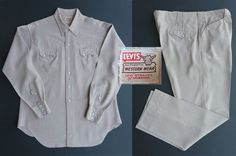 Beige w/ red & blue. Pants x Shirt Large Mens Western Suits, Vintage Western Wear, 50s Vintage, Western Shirts, Fabric Labels, Cuffed Pants, Levi Strauss, Blue Pants, Red Plaid
