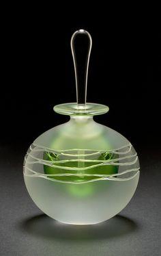 Green Wave Perfume Bottle: Mary Angus: Art Glass Perfume Bottle | Artful Home