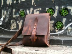 iPad Travel bag-  small leather messenger satchel - hand stitched leather