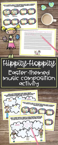 Step by step instructions lead students to write their very own song in this Easter music composition activity. Students practice writing and notating music, including musical motives, melody, rhythm & lyrics. Staff paper and flash cards included. Perfect for elementary music class, piano lessons, group lessons, music camps, centers, and more! Treat your students this Easter to this fun composing activity. They'll have a blast!  #eastermusicactivity #elementarymusic #musiceducat