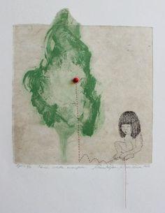 Laura Pohjonen 2012 Tänään istutan omenapuun Grafiikka, etsaus 28 x 25 cm € tai € kk) Vintage World Maps, Walls, Painting, Art, Art Background, Painting Art, Kunst, Paintings, Performing Arts
