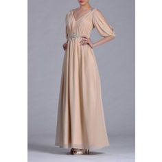 Chiffon Natural Straps V neck Balloon 1/2 Sleeves A line Mother Dress
