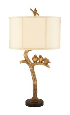 The Three Bird Light Table Lamp Features: Gold Leaf/Black Finish Made of wood Height x Width x Depth White Linen fabric drum shade Shade Dimension: Top x Bottom x Slant Height 1 x 100 Watt Medium Base Bulb Includes : Socket Switch Weight: 7 lbs. Art Deco Lamps, Art Deco Lighting, Elk Lighting, Eclectic Table Lamps, Sterling Homes, Table Lamp Sets, Rugs Usa, Drum Shade, Light Table