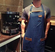 Denim and leather Barista Apron w/ Overall by theSouthernGrace, $39.99