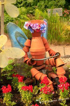 Flower pot sculpture at the Oregon Garden in Silverton.