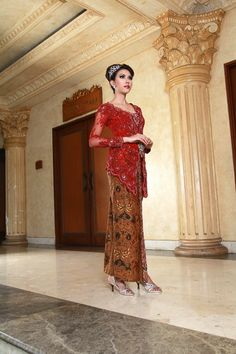 beautiful kebaya modern red Indonesia