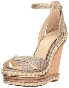 Jessica Simpson Women's AHNIKA Wedge Sandal GOLD MESH,12