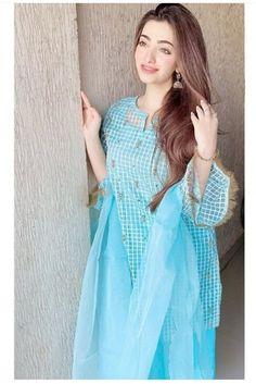 Casual Dresses, Fashion Dresses, Women's Fashion, Beautiful Girl Photo, Beautiful Eyes, Blue Colour Dress, Afghan Clothes, Stylish Girl Images, Girls Image