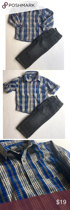 DKNY plaid button down shirt & Jeans 18 mths DKNY button down shirt in blue and white plaid pattern, sleeves can be worn down or rolled up and fastened with a button. Comes as a set with DKNY dark wash denim jeans. Size 18 months.  In Excellent condition, from pet free, smoke free home DKNY Shirts & Tops Button Down Shirts