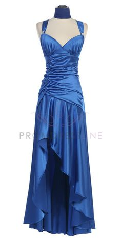 high low bridesmaid dresses | Royal Blue Shirred Bodice With High Low Hem Bridesmaid Dress