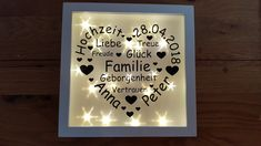 illuminated picture frame with sailing boat and dates of birth present birth baptism night. Black Bedroom Furniture Sets. Home Design Ideas