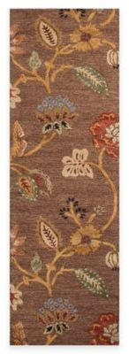 Jaipur Blue Collection Floral 2-Foot 6-Inch x 8-Foot Runner in Brown/Yellow