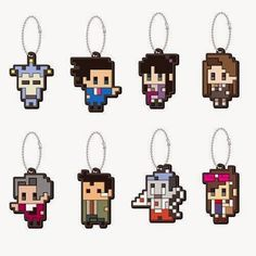 Adorable Phoenix Wright pixel charms ⊟ Hey, it's like the designs of the cute charms that came with the Japanese version of Ace Attorney Trilogy! Only there are more of them (LOOK AT GUMSHOE) and they're not shiny, and I think they're not as comically enormous. NCSX has these as a set for $45.90. If only I had more keys. CHECK OUT Tiny Cartridge's Holiday Gift Guide