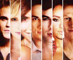 The Vampire Diaries cast Stefan, Caroline, Elena, Tylor, Damon, Bonny, & Mat