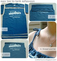 t shirt cut to make dress top | From Tee to Tank: A DIY T-shirt Journey | the bluecotton blog
