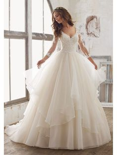 Elegant Ball Gown V-Neck Wedding Dresses With Sleeves 5601002