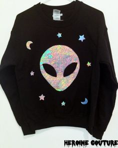 Custom Color Holographic Believer Alien Head Sweatshirt on Etsy, $47.00