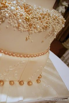 wedding cakes with gold trim and pearls | Wedding cake bling - pearl and gold edible dragees. FairyDustCakes.com