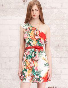 Asymmetrical dress with frills