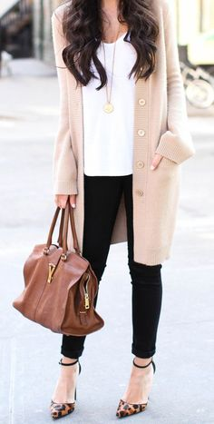 Long cardigan / neutral colors / plain white tee / black pants / casual and chic fashion