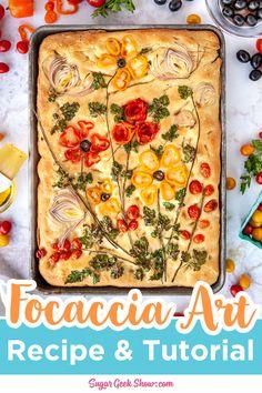 Pan Focaccia, Easy Focaccia Recipe, Meat Appetizers, Appetizer Recipes, Bread Recipes, Cooking Recipes, Scd Recipes, Bread Art, Bread Food
