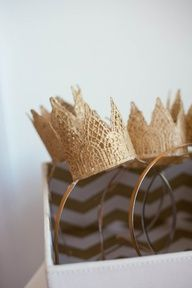 DIY lace crown would be interesting to use for an old fashioned recognition service. This blog is for a princess party that could easily be used as a reception or tea party idea.