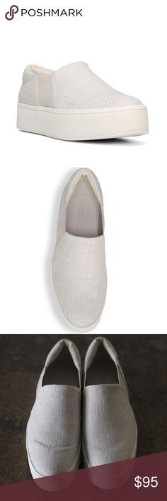 "Vince Warren Platform Skate Sneakers - sz 7.5 In EUC. Vince Warren platform skate sneakers. Size 7.5, off-white color.   - 1.5"" platform - textile upper - leather lining - slip-on style Vince Shoes Flats & Loafers"
